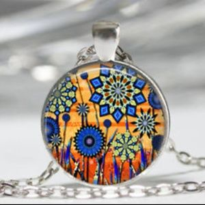 Orange and Blue Flowers Necklace